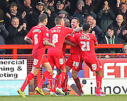 Crawley's Richard Wood celebrates his opening goal 1-0 during the Sky Bet League 1 match between Crawley Town and Sheffield Utd at the Checkatrade.com Stadium, Crawley, England on 28 February 2015. Photo by Phil Duncan.