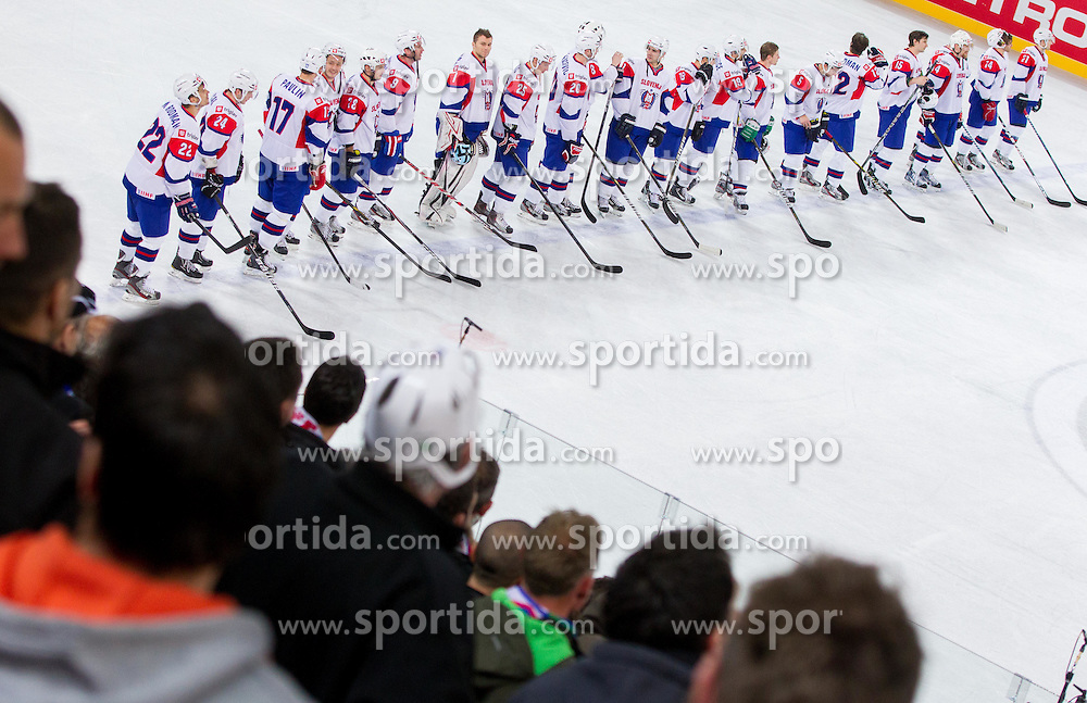 Players of Slovenia after the ice-hockey match between Slovenia and Ukraine at IIHF World Championship DIV. I Group A Slovenia 2012, on April 19, 2012 in Arena Stozice, Ljubljana, Slovenia. Slovenia defeated Ukraine 3-2. (Photo by Vid Ponikvar / Sportida.com)
