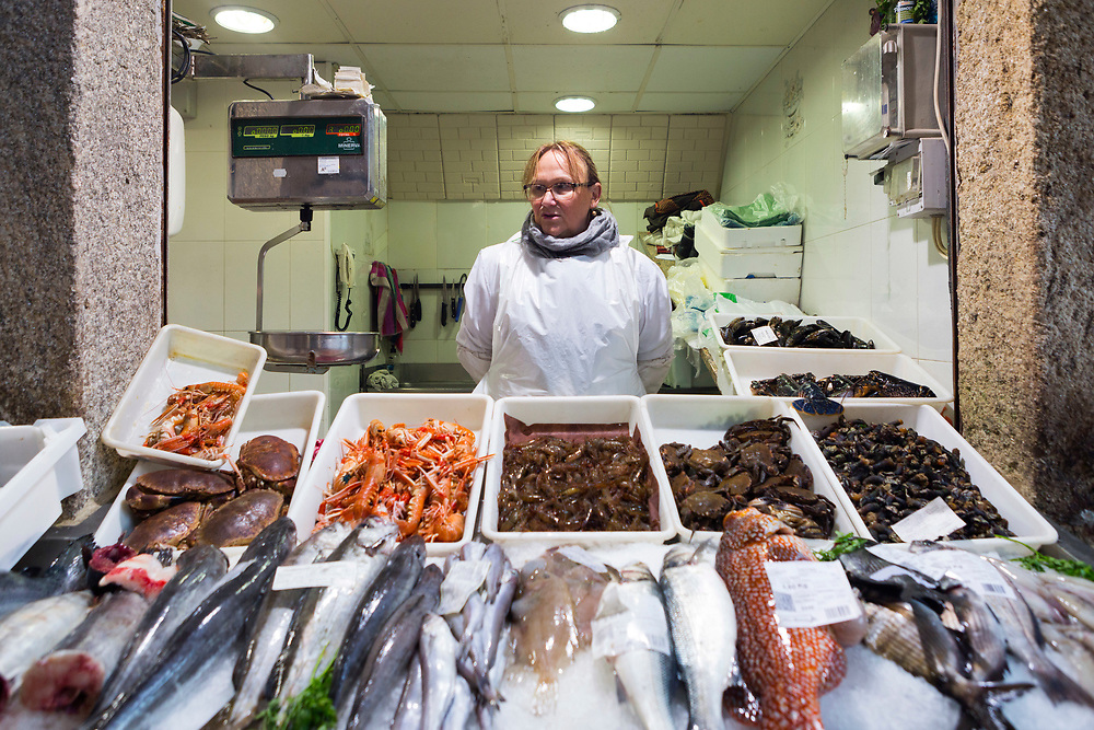 Fish market, Santiago de Compostela, Galicia, Spain, 2017-10-13.<br />
