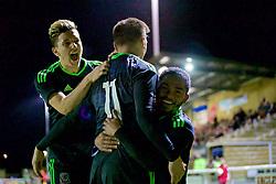 BANGOR, WALES - Saturday, November 12, 2016: Wales' Thomas Harris celebrates scoring the second goal against England during the UEFA European Under-19 Championship Qualifying Round Group 6 match at the Nantporth Stadium. (Pic by Gavin Trafford/Propaganda)