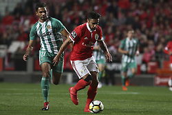 February 3, 2018 - Lisbon, Portugal - Benfica's forward Eduardo Salvio (R) vies with Rio Ave's midfielder Leandrinho during the Portuguese League  football match between SL Benfica and Rio Ave FC at Luz  Stadium in Lisbon on February 3, 2018. (Credit Image: © Carlos Costa/NurPhoto via ZUMA Press)