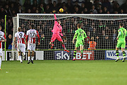 Forest Green Rovers goalkeeper Bradley Collins(1) tips the ba;ll over the bar during the EFL Sky Bet League 2 match between Forest Green Rovers and Cheltenham Town at the New Lawn, Forest Green, United Kingdom on 25 November 2017. Photo by Shane Healey.