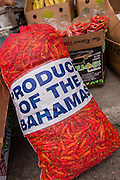 A bag of chili peppers grown in the Bahamas at a roadside food stall at Potter's Cay in Nassau, Bahamas.