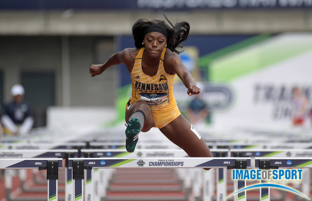 Jun 8, 2018; Eugene, OR, USA; Aliyah Whisby of Kennesaw State runs 13.60 in the heptathlon 100m hurdles during the NCAA Track and Field championships at Hayward Field.