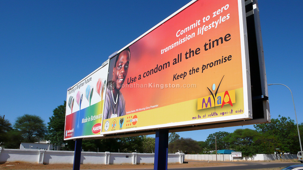 A billboard promoting safe sex and condom use in Gaborone, Botswana. Botswana has one of the highest HIV/AIDS infection rates in the world, with about 38.5 percent of the adult population infected. Botswana is the first country to provide antiretroviral therapy on a national scale to its citizens through a program called MASA, meaning new dawn in Setswana.