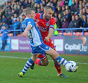 Jamie Allen & Liam Kelly during the Sky Bet League 1 match between Rochdale and Oldham Athletic at Spotland, Rochdale, England on 24 October 2015. Photo by Daniel Youngs.