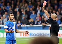 Peterborough United's Nat Knight-Percival is sent-off for violent conduct - Photo mandatory by-line: Joe Dent/JMP - Tel: Mobile: 07966 386802 21/09/2013 - SPORT - FOOTBALL - London Road Stadium - Peterborough - Peterborough United V MK Dons - Sky Bet League 1