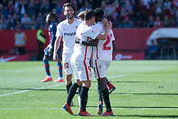 January 26, 2019 - Sevilla, Andalucia, Spain - Promes, Ben Yedder and Franco Vazquez celebrate the 5th goal from Sevilla FC during the La Liga match between Sevilla FC v Levante UD at the Ramon Sanchez Pizjuan Stadium on January 26, 2019 in Sevilla, Spain  (Credit Image: © Javier MontañO/Pacific Press via ZUMA Wire)