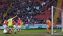 LONDON, ENGLAND - Saturday, January 30, 2010: Charlton Athletic's defence looks dejected after Tranmere Rovers' Ash Taylor scores to make it 1-0 during the Football League One match at the Valley. (Photo by Gareth Davies/Propaganda)