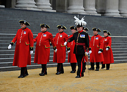 © Licensed to London News Pictures. 17 April 2013. St Paul's Cathedral London. Chelsea Pensioners. Funeral of Baroness Thatcher, former Conservative Prime Minister. Photo credit : MarkHemsworth/LNP
