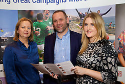 29/10/2015<br /> IAB Conference at the Guinness Storehouse.<br /> (l-r):<br /> Caroline Cruise (Davy); <br /> Derek Liddy (Aer Lingus)<br /> and Maria Flood (Three).