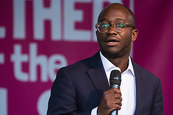 London, UK. 19 October, 2019. Sam Gyimah, Liberal Democrat MP for East Surrey, addresses hundreds of thousands of pro-EU citizens at a Together for the Final Say People's Vote rally in Parliament Square as MPs meet in a 'super Saturday' Commons session, the first such sitting since the Falklands conflict, to vote, subject to the Sir Oliver Letwin amendment, on the Brexit deal negotiated by Prime Minister Boris Johnson with the European Union.