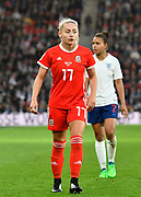 Charlotte Estcourt (17) of Wales during the FIFA Women's World Cup UEFA Qualifier match between England Ladies and Wales Women at the St Mary's Stadium, Southampton, England on 6 April 2018. Picture by Graham Hunt.