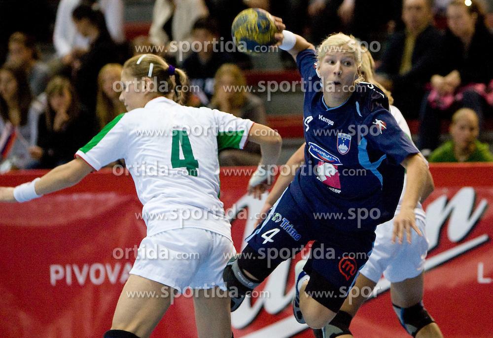 Maja Zrnec of Slovenia at Women European Championships Qualifying handball match between National Teams of Slovenia and Belarus, on October 17, 2009, in Kodeljevo, Ljubljana.  (Photo by Vid Ponikvar / Sportida)