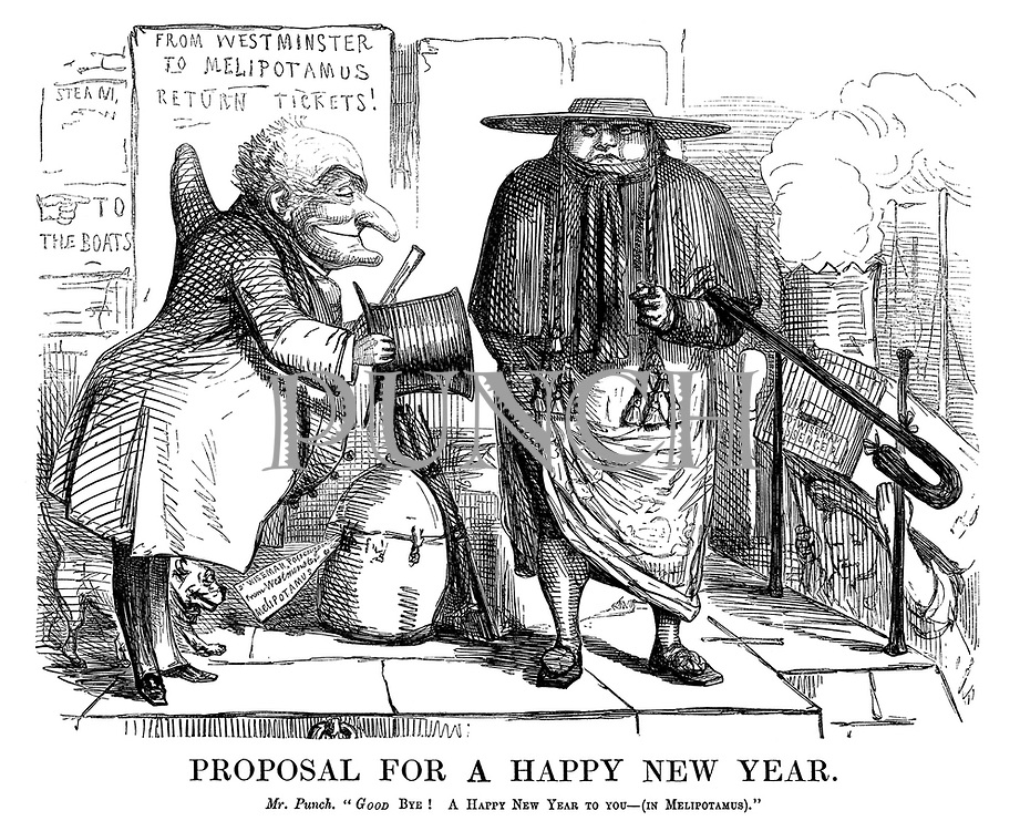 "Proposal for a Happy New Year. Mr Punch. ""Good bye! A Happy New Year to you  - (in Melipotamus)."""