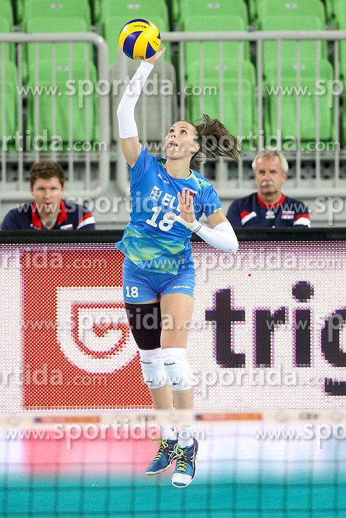 Sasa Planinsec of Slovenia during volleyball match between Slovenia and Slovakia in CEV European League Women on June 22, 2016 in Stozice, Ljubljana, Slovenia. Photo by Morgan Kristan / Sportida
