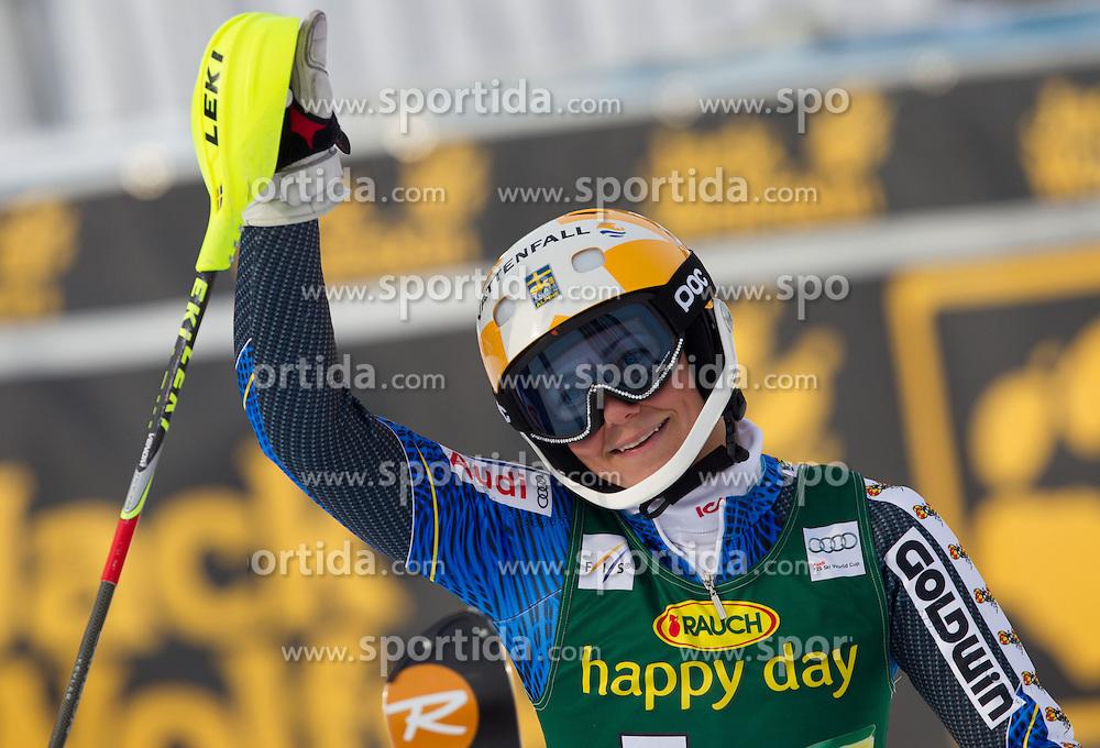 "HANSDOTTER Frida (SWE) celebrates after the 2nd Run of FIS Alpine Ski World Cup 7th Ladies' Slalom race named ""49th Golden Fox 2013"", on January 27, 2013 in Mariborsko Pohorje, Maribor, Slovenia. (Photo By Vid Ponikvar / Sportida.com)"