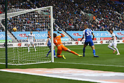 Leeds United midfielder Pablo Hernandez (19) scores a goal 1-1 during the EFL Sky Bet Championship match between Wigan Athletic and Leeds United at the DW Stadium, Wigan, England on 4 November 2018.
