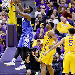 Jan 5, 2016; Baton Rouge, LA, USA; Kentucky Wildcats forward Alex Poythress (22) dunks against the LSU Tigers during the first half of a game at the Pete Maravich Assembly Center. Mandatory Credit: Derick E. Hingle-USA TODAY Sports