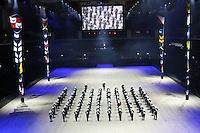 Royal Marine Massed Band, British Military Tournament Dress Rehearsal, Earls Court, London UK, 06 December 2013, Photo by Richard Goldschmidt