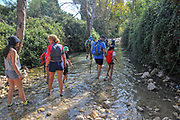 Hiking along the Kziv stream, upper Galilee, Israel