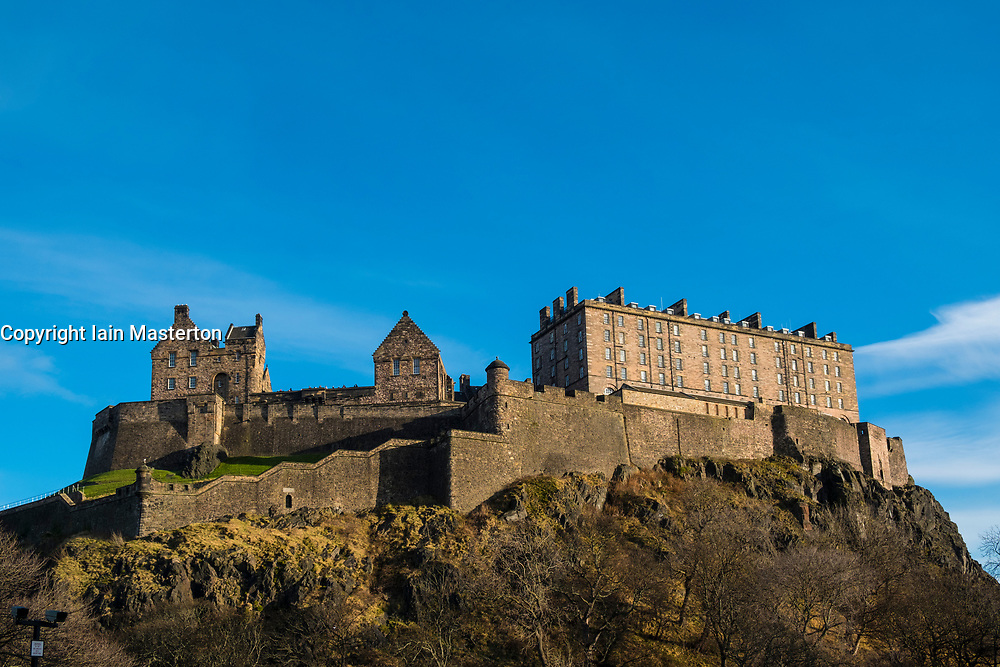 View of Edinburgh Castle on a clear winter day In Edinburgh, Scotland, United Kingdom