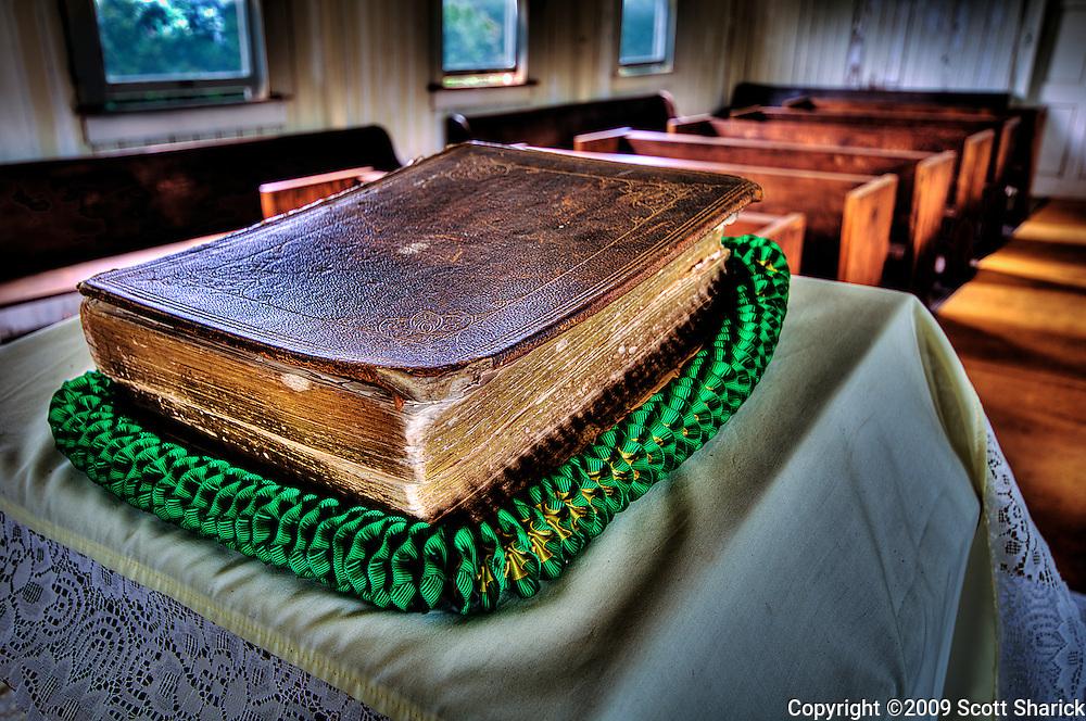 A bible and lei in the Kealii O Ka Malu Church in Hale'iwa on the North Shore of Oahu.