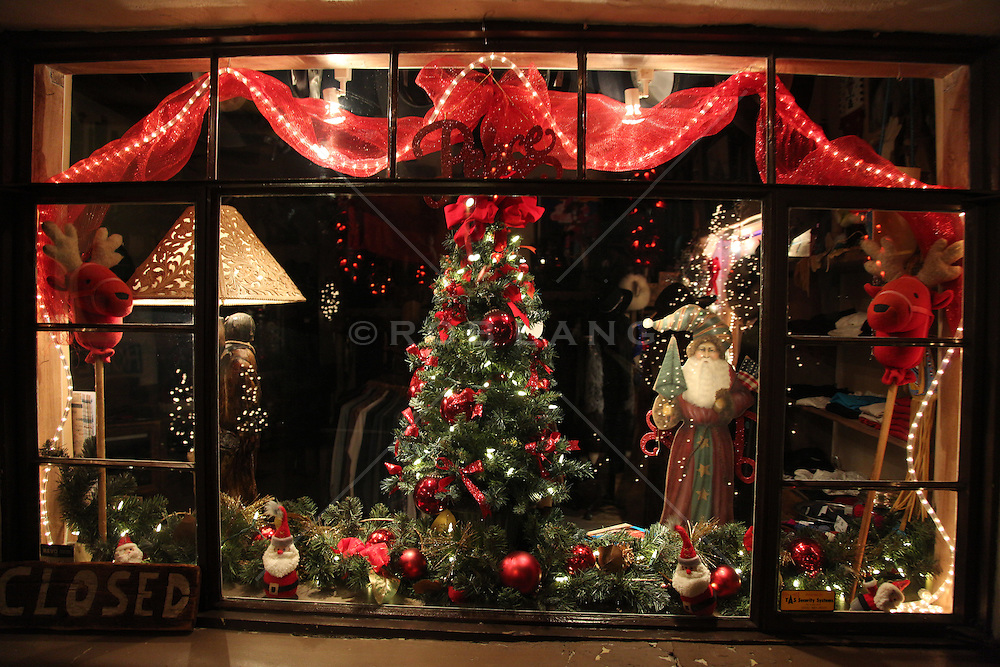 Christmas window display in Santa Fe, NM