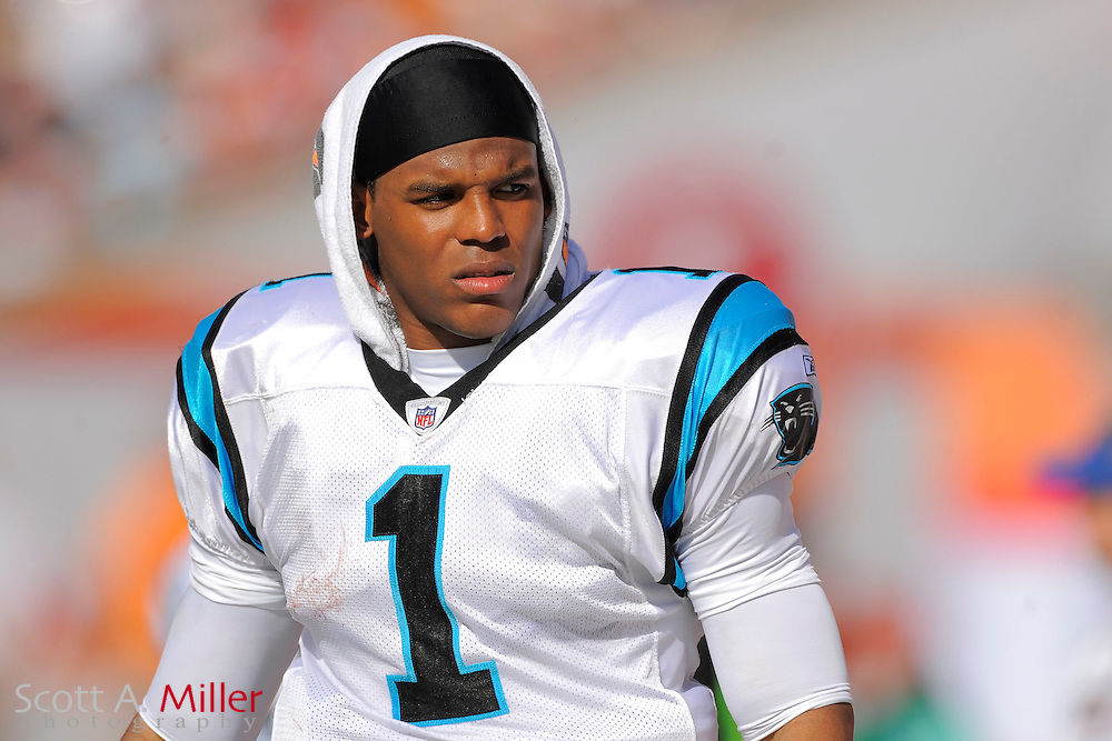 Carolina Panthers quarterback Cam Newton (1) during the Panthers game against the Tampa Bay Buccaneers at Raymond James Stadium on Dec. 4, 2011 in Tampa, Fla.  ..©2011 Scott A. Miller
