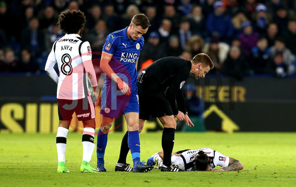 Bradley Johnson of Derby County lies on the floor after getting injured - Mandatory by-line: Robbie Stephenson/JMP - 08/02/2017 - FOOTBALL - King Power Stadium - Leicester, England - Leicester City v Derby County - Emirates FA Cup fourth round replay