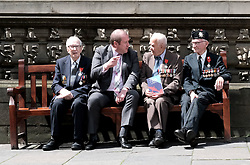 D-Day 75th anniversary, Edinburgh, Friday 6th June 2019<br /> <br /> A service to commemorate the 75th anniversary of the D-Day<br /> landings was organised by Armed Forces charity Legion<br /> Scotland and The French Consulate General.<br /> <br /> It was attended by 15 D-Day veterans, 4 of whom received the Knight of the Légion d'Honneur Cross, serving personnel, various dignitaries and Graeme Dey, the Scottish Government's Minister for Parliamentary Business and<br /> Veterans.<br /> <br /> Pictured:  David Livingston (97, Royal Navy, centre) received the medal and is flanked by previous recipients Jack Adamson (100, Black Watch, right) and Robert Paton (94, wireless operator, left) with Graeme Dey MSP<br /> <br /> Alex Todd | Edinburgh Elite media