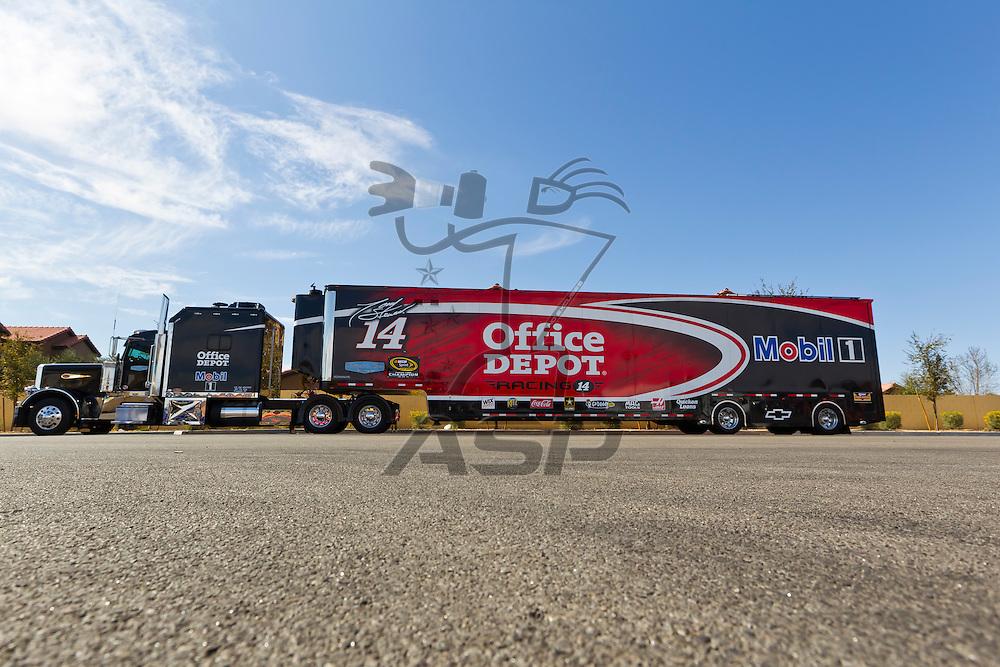LAS VEGAS, NV - MAR 08, 2012:  The NASCAR Sprint Cup hauler of Tony Stewart (14) waits to enter the Las Vegas Motor Speedway before the running of the Kobalt Tools 400 race in Las Vegas, NV.