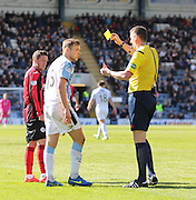 Referee Criag Thomson shows a second yellow and red card to Dundee's Greg Stewart for diving - Dundee v St Johnstone, SPFL Premiership at Dens Park <br /> <br />  - &copy; David Young - www.davidyoungphoto.co.uk - email: davidyoungphoto@gmail.com