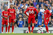 Liverpool defender Trent Alexander-Arnold (66) weighs up a free-kick during the Premier League match between Chelsea and Liverpool at Stamford Bridge, London, England on 22 September 2019.