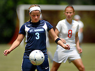 26 MAY 2012 -- TOWN & COUNTRY, Mo. -- St. Dominic High School soccer player Katy Rood (3) controls the ball against Visitation Academy palyer Liz Hopkins (8) during the MSHSAA Class 2 girls' soccer quarterfinals at Visitation Saturday, May 26, 2012. St. Dominic topped the Vivettes 8-1 to advance to Friday's semifinals against Helias Catholic High School at Blue Springs South High School. Photo © copyright 2012 Sid Hastings.