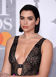 Dua Lipa attending the Brit Awards 2019 at the O2 Arena, London. Photo credit should read: Doug Peters/EMPICS. EDITORIAL USE ONLY