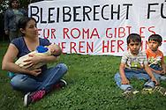 Berlin, Germany - 22-23.05.2016<br /> <br /> About 50 Sinti & Roma protest against their acute deportations and occupy  along with supporters the Memorial to the Sinti & Roma Victims of National Socialism in Berlin's government district. In talks with the Director of the Foundation Memorial to the Murdered Jews of Europe Uwe Neumaerker, the Green politican Volker Beck and others they try to get the permission to stay at least until the next morning at the memorial. By order of the president of the Bundestag began shortly after midnight the police eviction of the protest. An hour earlier jumped two Roma in the water basin of the monument to protest agains the planed eviction of the occupation memorial. Immediately after this, a woman who also jumped in the water became a strong epileptic seizure. She was supervised on site by paramedics and doctors, Because of the concern that they will be deported directly out of the hospital, she refused a transfer to hospital.<br /> <br /> Aus Protest gegen ihre akut drohenden Abschiebungen besetzten etwa 50 Sinti & Roma zusammen mit Unterstuetzer das Denkmal für die ermordeten Sinti und Roma Europas im Berliner-Regierungsviertel. In Gespraechen u.a. mit Uwe Neumaerker, dem Direktor der Stiftung Denkmal für die ermordeten Juden Europas und dem Gruenen Politiker Volker Beck versuchten sie zu erreichen, zumindest bis zum naechsten Vormittag am Mahnmal bleiben zu koennen. Auf Anordnung des Bundestagspraesidenten begann um kurz nach Mitternacht die polizeiliche Raeumung der Aktion. Bereits eine Stunde zuvor sprangen zwei Roma in das Wasserbecken des Denkmals um gegen eine drohende Raeumung des Besetzung zu protestieren. Unmittelbar danach bekam eine Frau die mit ins Wasserbecken sprang einen starken Epileptischen Anfall. Sie wurde vor Ort von Sanitaetern und Aerzten betreut, lehnte einen dringend angeratenen Transport ins Krankenhaus jedoch ab, da sie Angst hatte, ansonsten aus dem Krankenhaus heraus abgeschoben zu werden.<br /> <br /