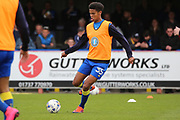 AFC Wimbledon defender Tony Sibbick (35) warming up during the EFL Sky Bet League 1 match between AFC Wimbledon and Peterborough United at the Cherry Red Records Stadium, Kingston, England on 17 April 2017. Photo by Matthew Redman.