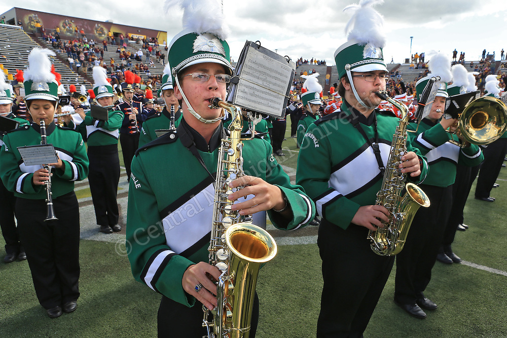 "Hundreds of high school band members from across the state convened on Mt. Pleasant Saturday to participate in the CMU vs. Toledo ""Band Day."" The students got to practice and play with the CMU Marching Chips at half time as well as check out Central Michigan University."