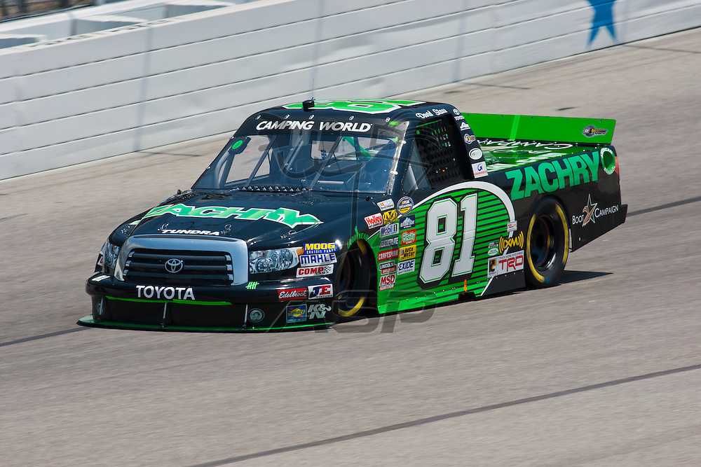 Fort Worth, TX - June 09, 2011:  David Starr (81) brings his Camping World Truck Series truck through the turns during a practice session for the WinStar World Casino 400 race in Fort Worth, TX.