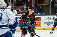 KELOWNA, CANADA - OCTOBER 23: Liam Kindree #26  of the Kelowna Rockets looks to block the pass against the Swift Current Broncos  on October 23, 2018 at Prospera Place in Kelowna, British Columbia, Canada.  (Photo by Marissa Baecker/Shoot the Breeze)
