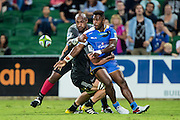 Solomoni Rasolea of the Western Force gets a passs away in a tackle to result in a try during the Canterbury Crusaders v the Western Force Super Rugby Match. Nib Stadium, Perth, Western Australia, 8th April 2016. Copyright Image: Daniel Carson / www.photosport.nz