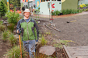 Tyson Leggate volunteers at the rain garden work meet, Café au Play at Tabor Commons, a project of the Southeast Uplift Neighborhood Coalition (SEUL) and volunteers from Portland's Mt Tabor neighborhood.