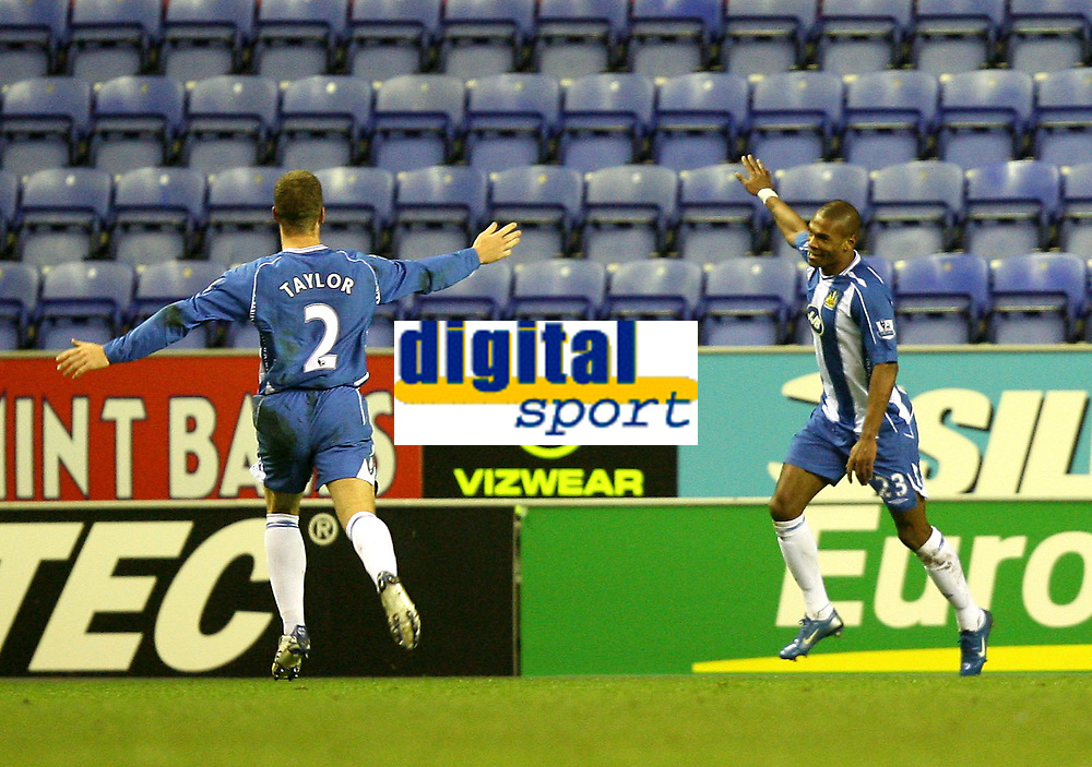 Photo: Paul Greenwood/Sportsbeat Images.<br />Wigan Athletic v Blackburn Rovers. The FA Barclays Premiership. 15/12/2007.<br />Wigan's Marcus Bent and Ryan Taylor celebrate.
