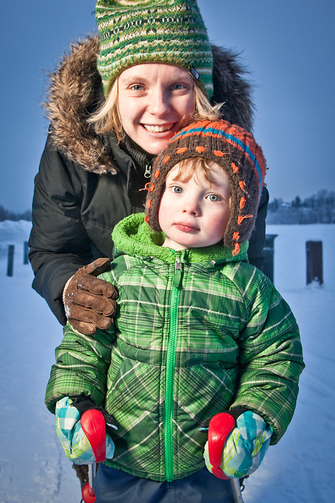 Lili Leveque and her 2 year old son, Jack, practice cross country skiing on the Tony Knowles Coastal Trail near Westchester Lagoon, Anchorage