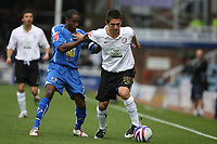 Photo: Pete Lorence.<br />Peterborough United v Hereford United. Coca Cola League 2. 27/10/2007.<br />Kris Taylor fights his way passed Adam Newton