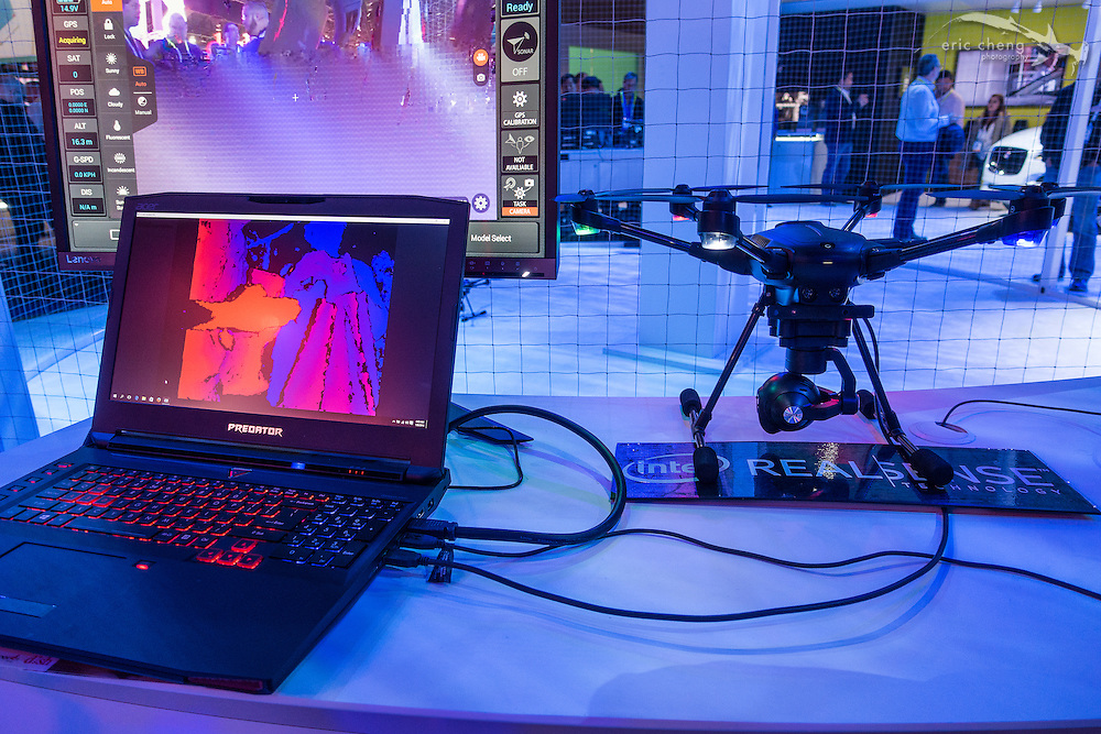 Yuneec Typhoon H demo with RealSense technology at the Intel booth. CES 2016, Las Vegas.