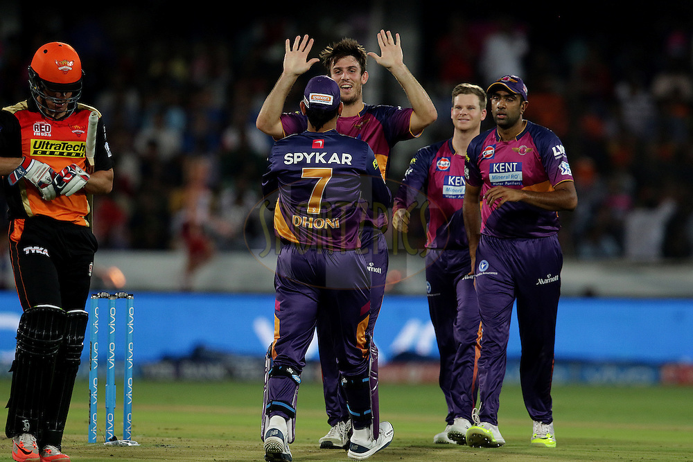 Mitchell Marsh of Rising Pune Supergiants celebrates the wicket of Moises Henriques of Sunrisers Hyderabad during match 22 of the Vivo IPL 2016 (Indian Premier League ) between the Sunrisers Hyderabad and the Rising Pune Supergiants held at the Rajiv Gandhi Intl. Cricket Stadium, Hyderabad on the 26th April 2016<br /> <br /> Photo by Rahul Gulati / IPL/ SPORTZPICS