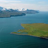 Flatey á Skjálfandi. Viti Loftmynd.Flatey on Skjalfandi bay. lighthouse. Aerial.