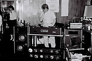 Peter McGowan DJing at North Ealing Labour Club, London, UK, 1985
